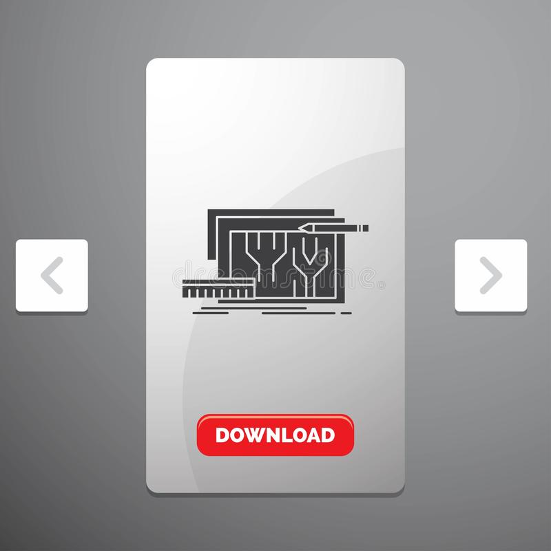 Arquitectura, modelo, circuito, diseño, dirigiendo el icono del Glyph en diseño del resbalador de las paginaciones de la orgía y  stock de ilustración