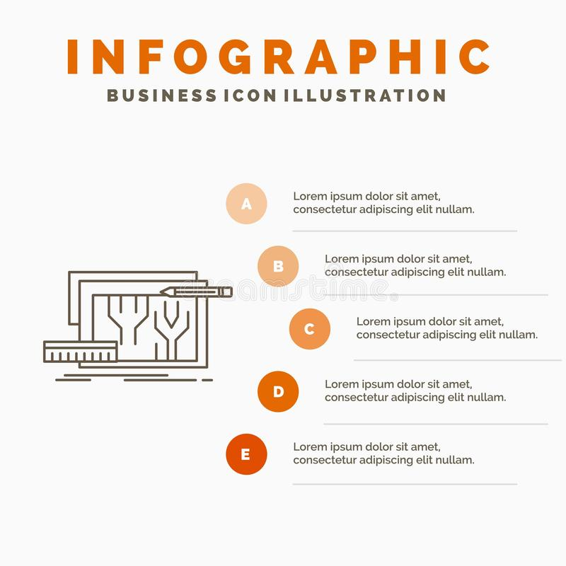 Arquitectura, modelo, circuito, diseño, dirigiendo la plantilla de Infographics para la página web y la presentación L?nea icono  libre illustration