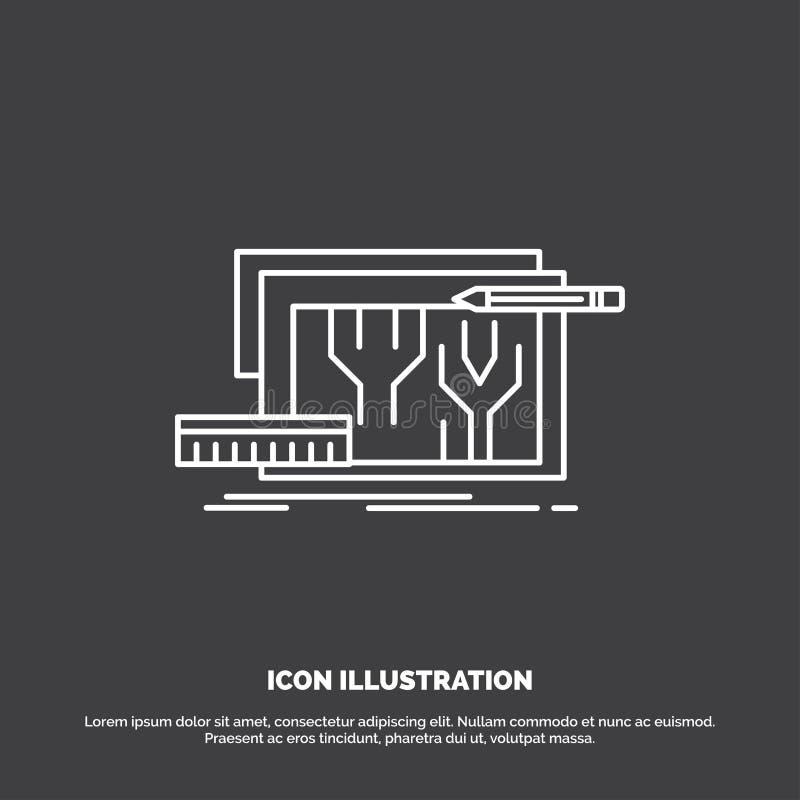 Arquitectura, modelo, circuito, dise?o, dirigiendo el icono L?nea s?mbolo del vector para UI y UX, p?gina web o aplicaci?n m?vil ilustración del vector