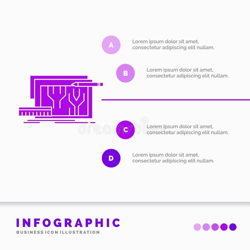 Arquitectura, modelo, circuito, dise?o, dirigiendo la plantilla de Infographics para la p?gina web y la presentaci?n r ilustración del vector