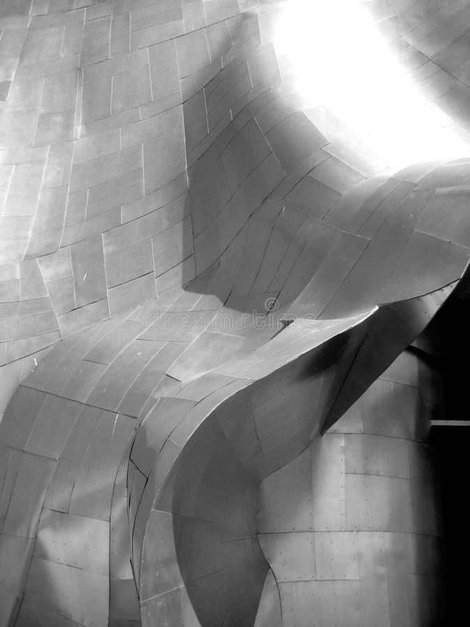 Arquitectura moderna del acero inoxidable en el museo del EMP en Seattle fotografía de archivo