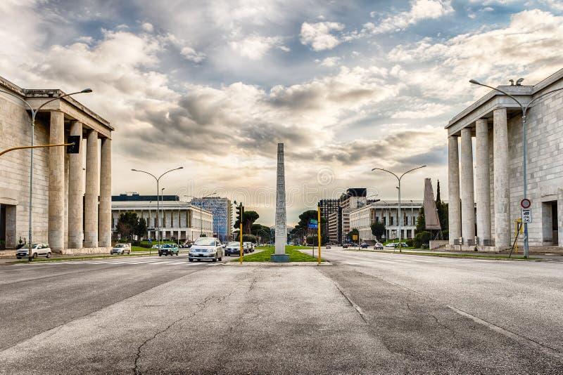 Arquitectura neoclásica en el distrito del EUR, Roma, Italia fotografía de archivo libre de regalías