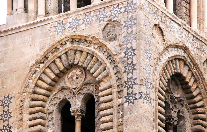 Arquitectura normanda árabe, de Palermo imagen de archivo