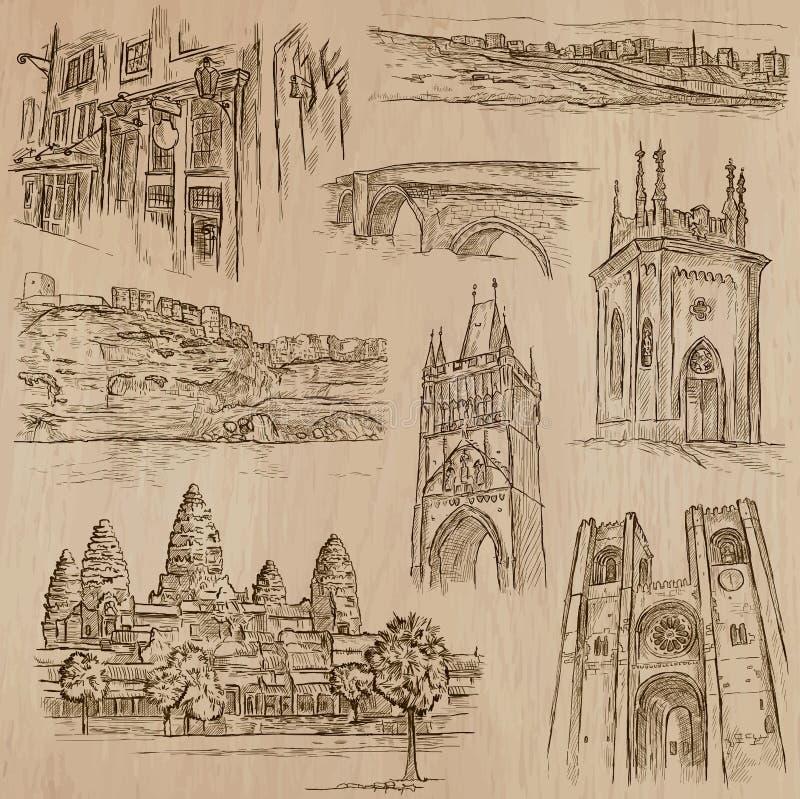 Arquitectura - paquete dibujado mano del vector ilustración del vector