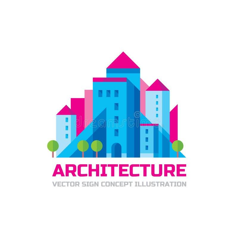 Arquitectura - plantilla del logotipo del vector en diseño plano del estilo Muestra creativa de las propiedades inmobiliarias libre illustration