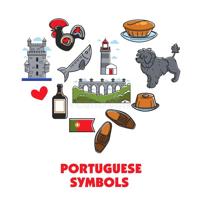 Arquitectura portuguesa del corazón de los símbolos y animal de la comida stock de ilustración