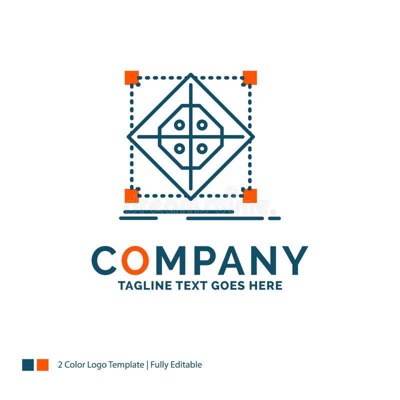 Arquitectura, racimo, rejilla, modelo, preparación Logo Design Azul stock de ilustración