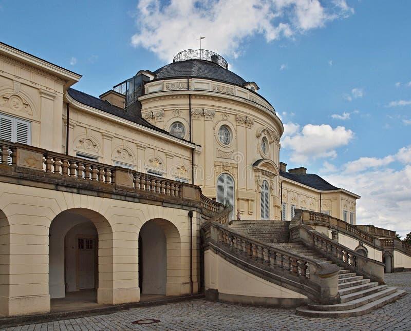 Arquitectura romántica en Stuttgart, castillo Schloss Bellevue foto de archivo libre de regalías