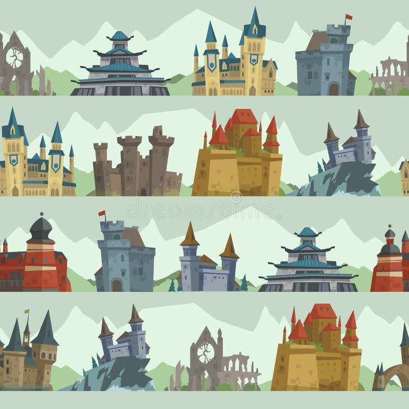 Arquitectura trapezoidal de la torre del palacio del castillo del cuento de hadas de la historieta que construye vector inconsúti libre illustration