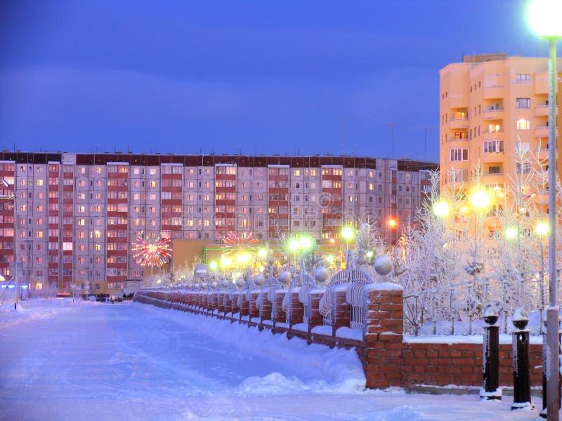 Arquitectura urbana. Año Nuevo. Decoraciones festivas. Paisaje del invierno. imagenes de archivo