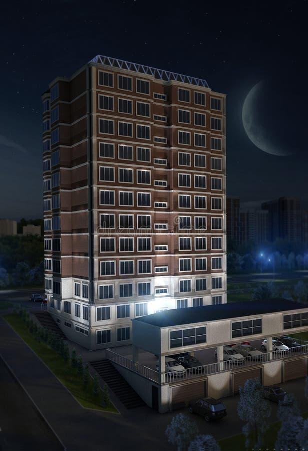 Arquitectura urbana constructiva de la noche libre illustration