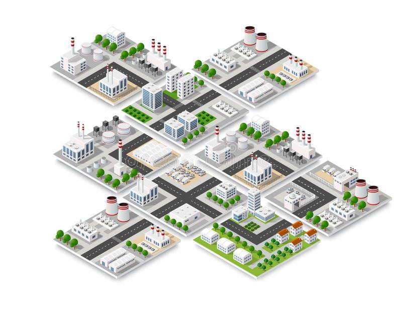 Arquitectura urbana de los elementos ilustración del vector