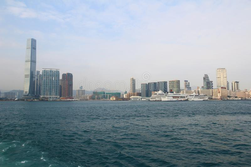 Arquitectura urbana en Hong Kong Victoria Harbor fotos de archivo libres de regalías