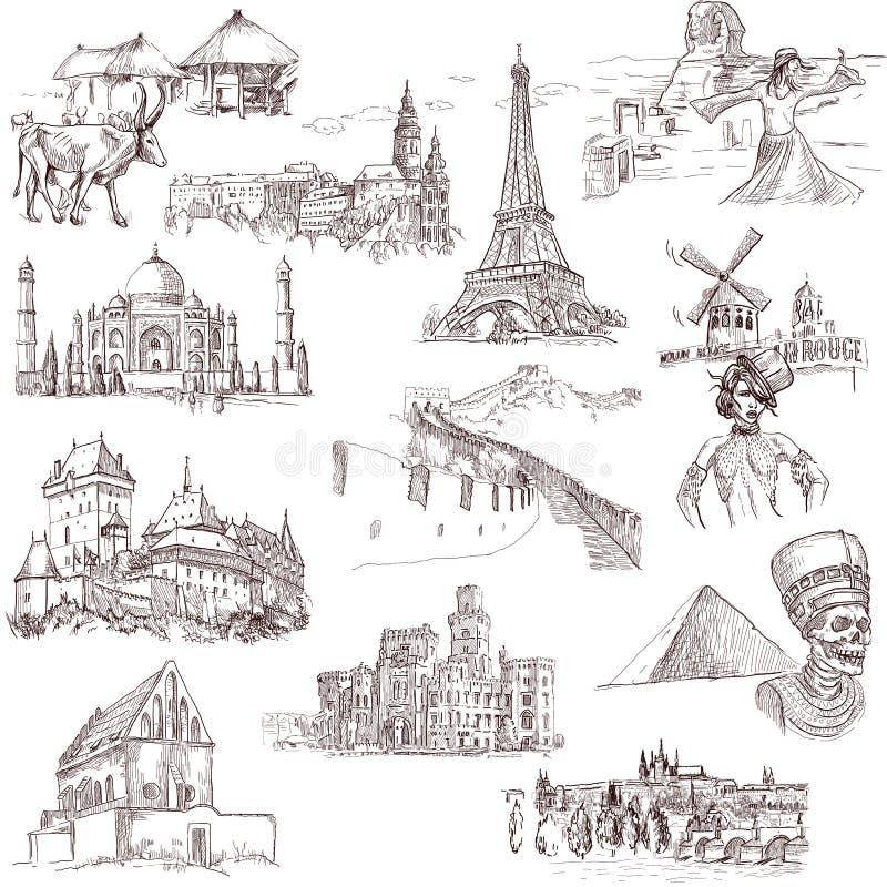 Arquitectura y lugares 1 stock de ilustración