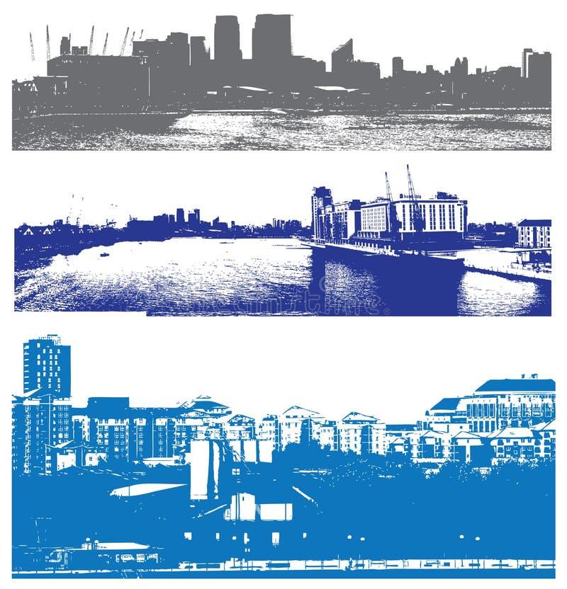 Arquitecturas da cidade urbanas de Londres do estilo ilustração stock