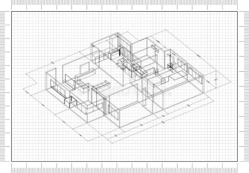 Arquiteto Blueprint ilustração stock