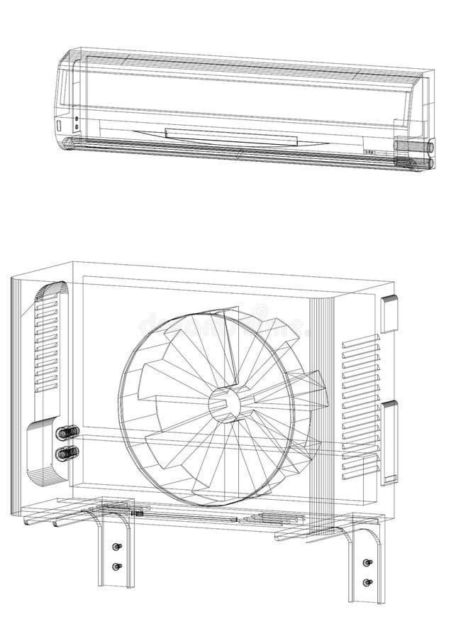 Arquiteto Blueprint do condicionador de ar - isolado ilustração royalty free
