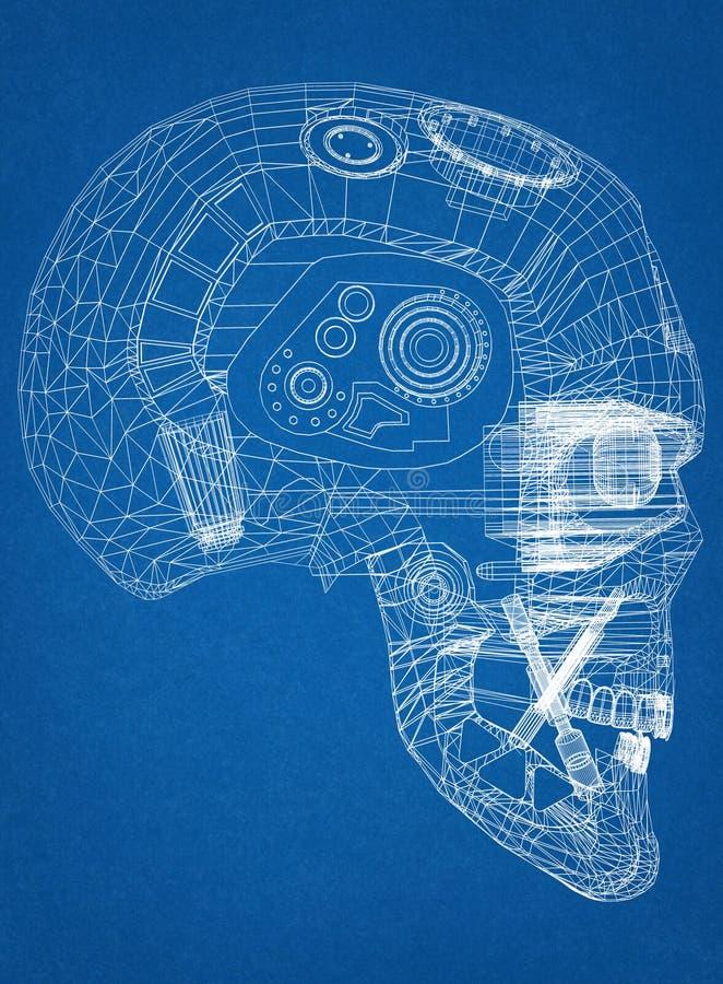 Arquiteto Blueprint do projeto da cabeça do robô ilustração royalty free
