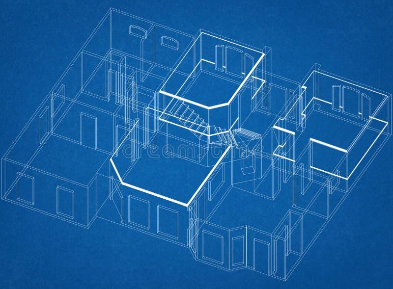 Arquiteto Blueprint do projeto da casa fotografia de stock royalty free