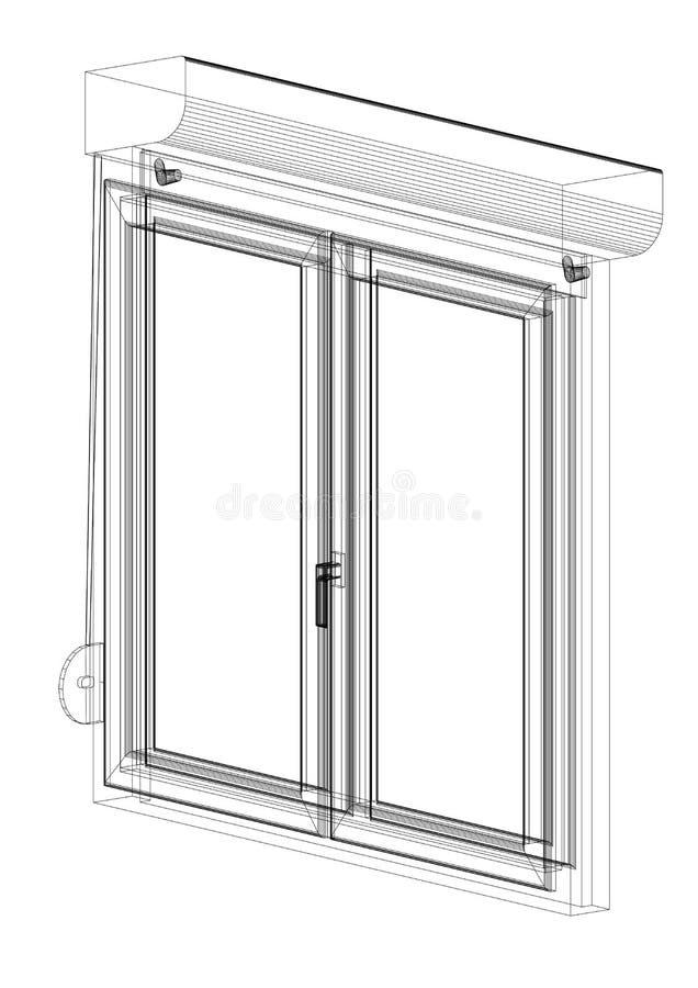 Arquiteto Blueprint do projeto da janela - isolado ilustração stock