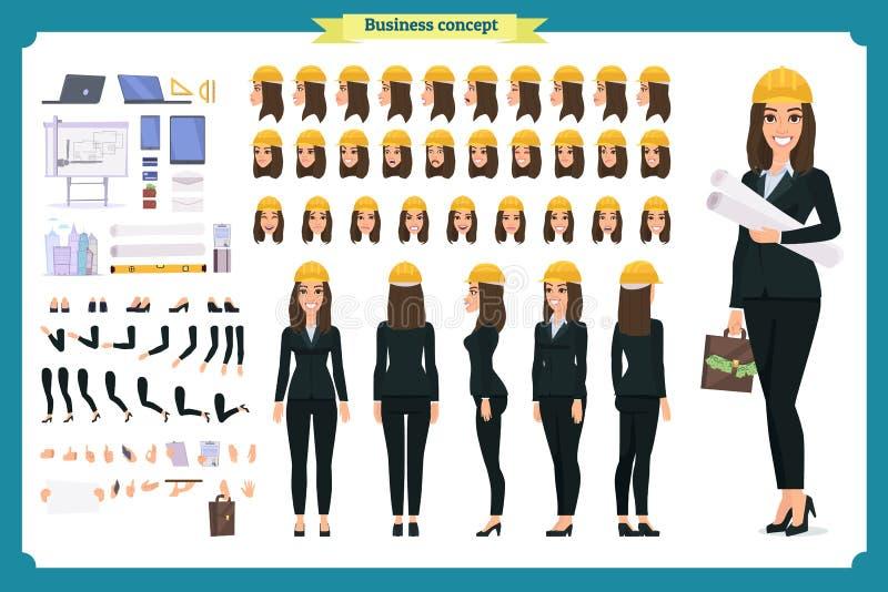 Arquiteto da mulher no terno de negócio e no capacete protetor Grupo da criação do caráter ilustração stock
