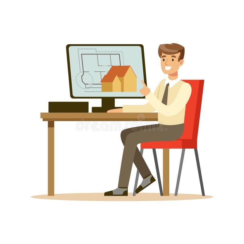 Arquiteto de sorriso novo que trabalha em seu projeto usando o computador, ilustração colorida do vetor do caráter ilustração do vetor