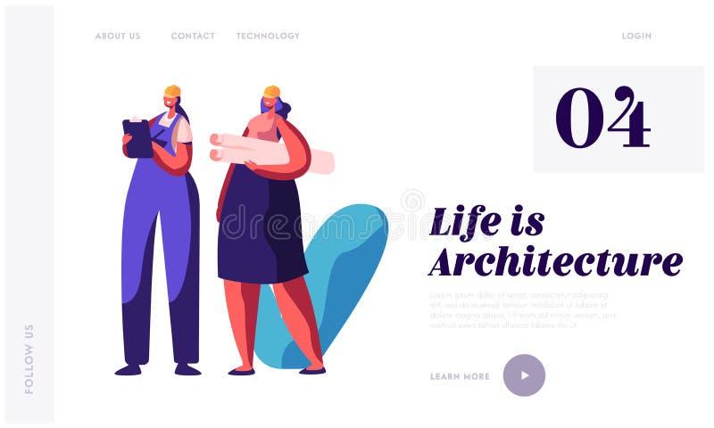 Arquiteto e construtor Working na página da aterrissagem da construção do projeto Coordenador Projecting Building Plan da mulher  ilustração do vetor