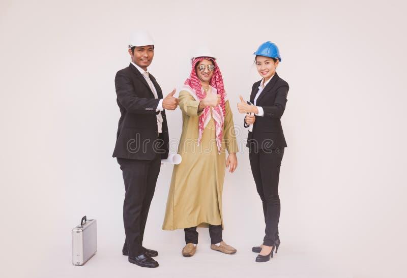 Arquiteto e trabalhador do coordenador de construção da equipe do negócio teamwork fotos de stock