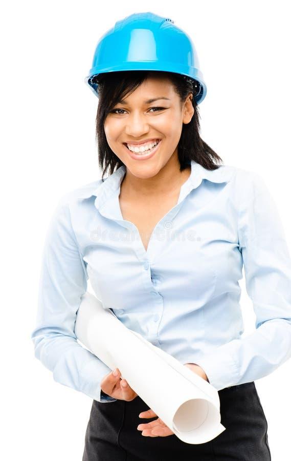 Arquiteto feliz da mulher de negócio da raça misturada que guarda o iso da cópia azul imagens de stock