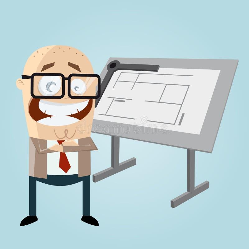 Arquiteto feliz dos desenhos animados ilustração stock
