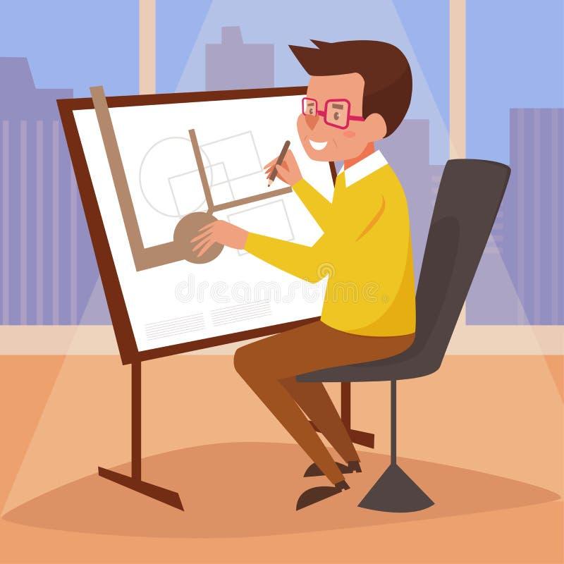 arquiteto Mesa de projeto ilustração royalty free