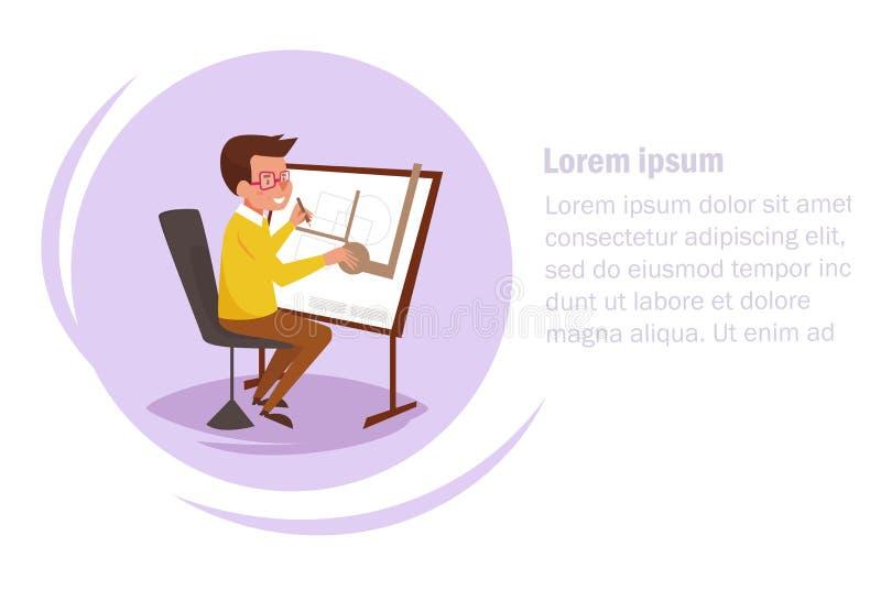 arquiteto Mesa de projeto Desenhos animados lisos do vetor Arte isolada no fundo branco liso ilustração stock