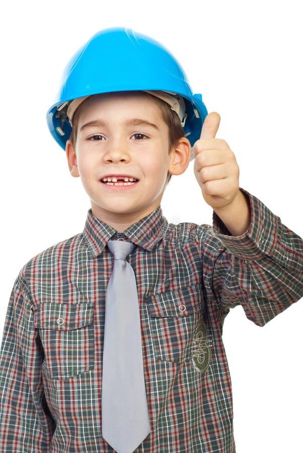Arquiteto pequeno que dá os polegares acima imagem de stock