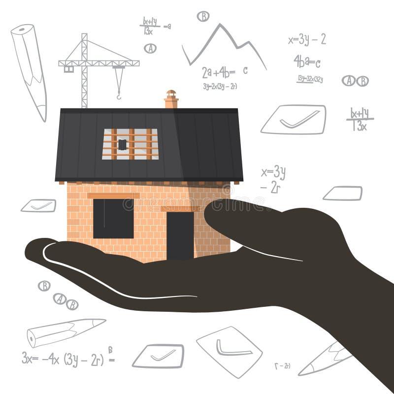 Arquiteto Project com construção civil à disposição ilustração royalty free