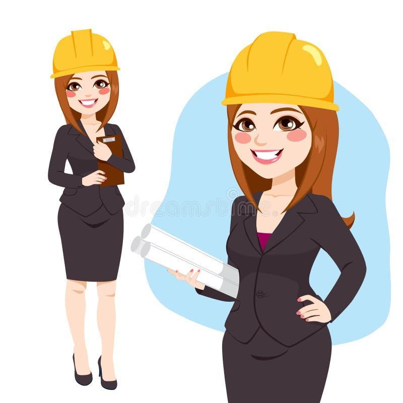 Arquiteto Woman Standing Character ilustração do vetor