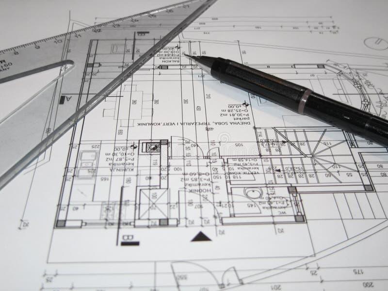 Arquitetos que fazem a planta imagem de stock
