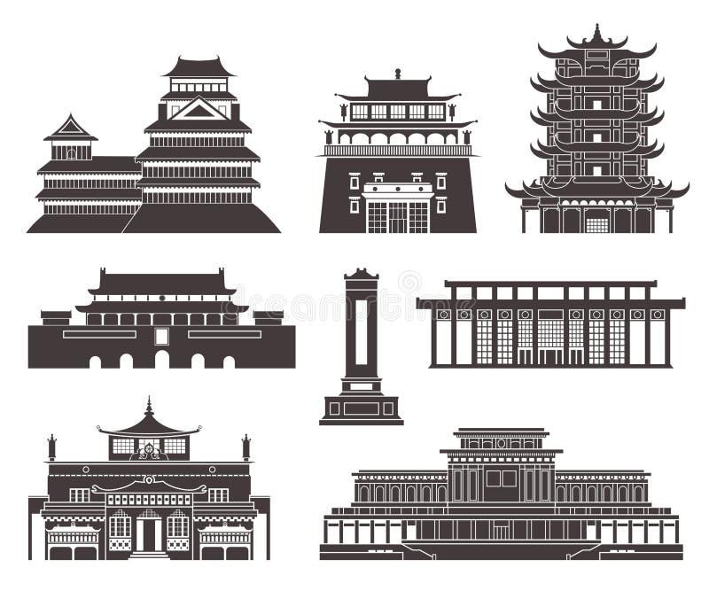 Arquitetura Ásia Oriental ilustração do vetor