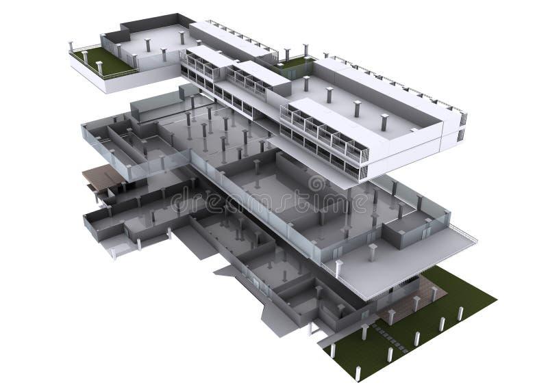 arquitetura 3d explodida. imagem de stock
