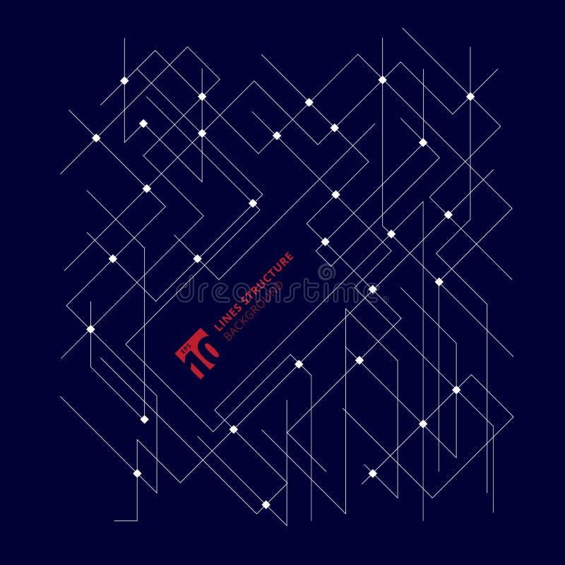 A arquitetura abstrata alinha a estrutura dimensional na obscuridade - b azul ilustração stock