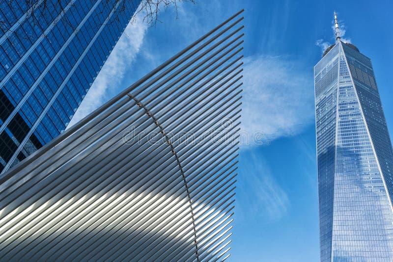Arquitetura abstrata em New York City, manhattan imagens de stock royalty free