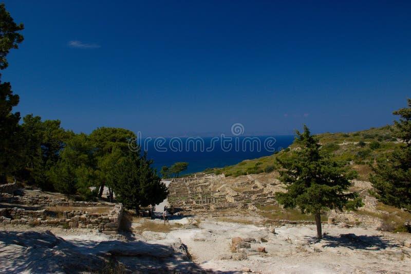 Arquitetura antiga de Kamiros Rhodos Grécia histórica imagens de stock