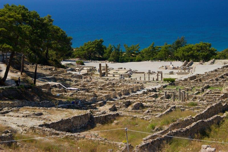 Arquitetura antiga de Kamiros Rhodos Grécia histórica fotos de stock royalty free