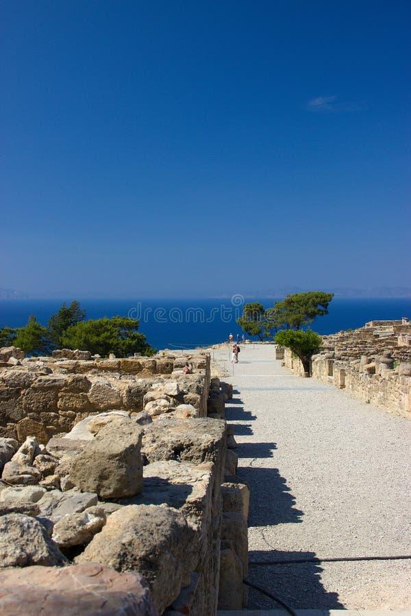 Arquitetura antiga de Kamiros Rhodos Grécia histórica imagem de stock