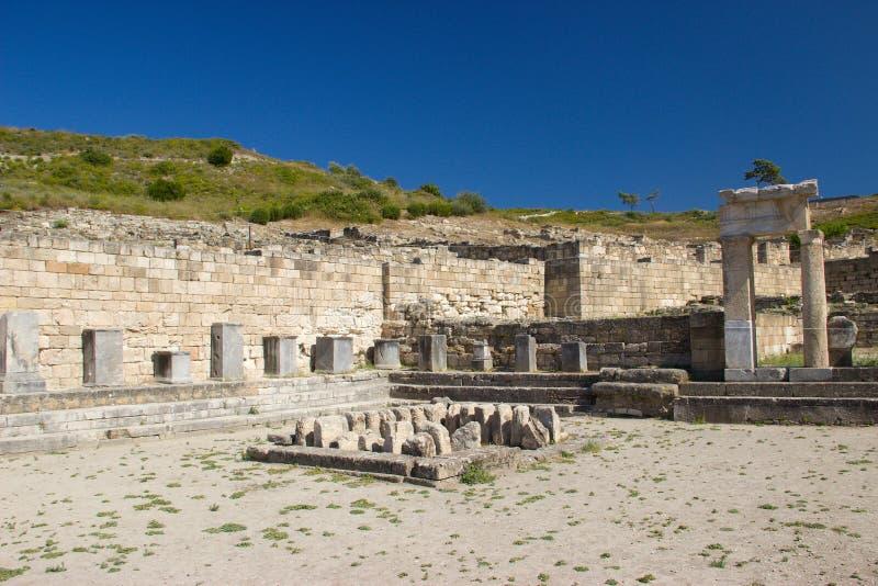 Arquitetura antiga de Kamiros Rhodos Grécia histórica fotografia de stock royalty free