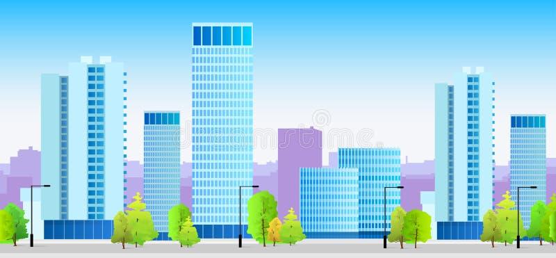 Arquitetura azul da ilustração das skylines da cidade ilustração stock