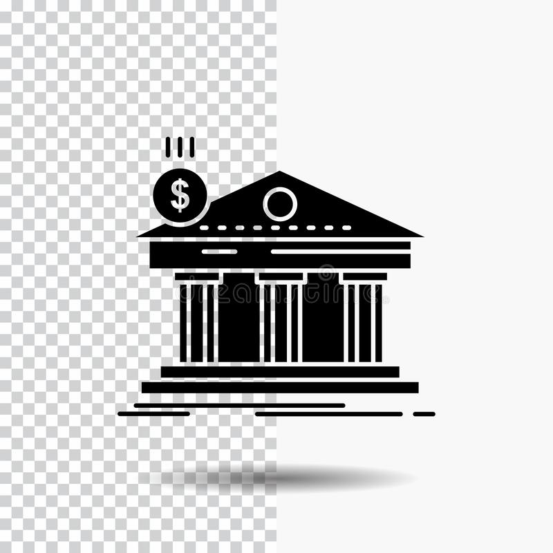 Arquitetura, banco, operação bancária, construção, ícone federal do Glyph no fundo transparente ?cone preto ilustração royalty free