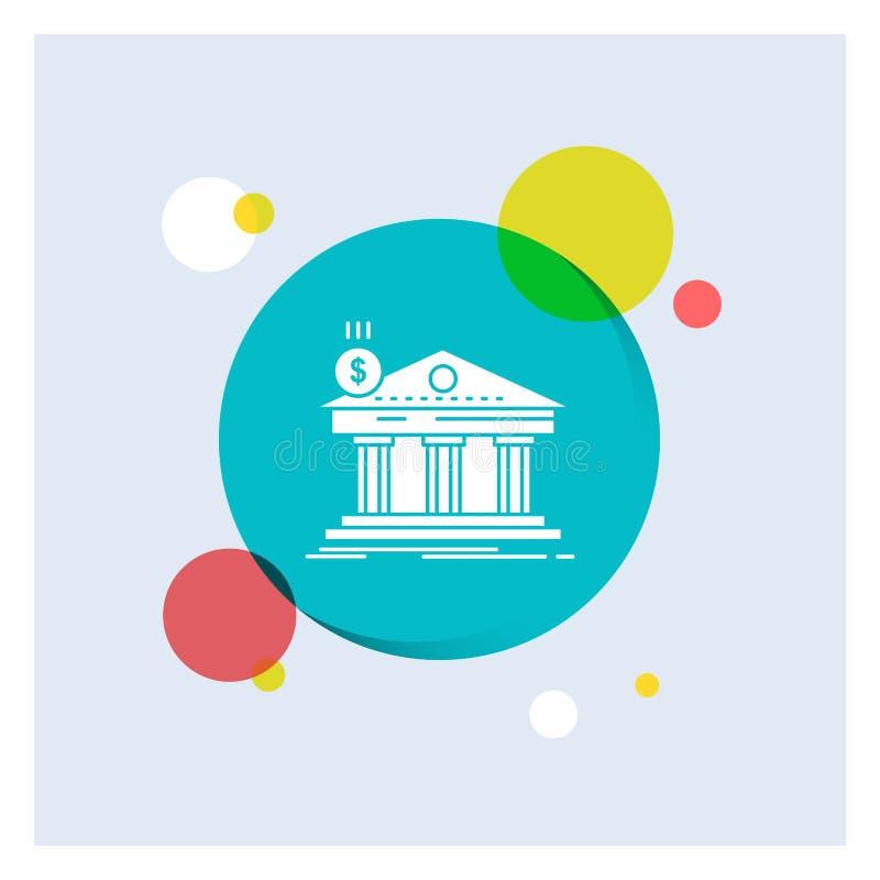 Arquitetura, banco, operação bancária, construção, fundo colorido do círculo do ícone branco federal do Glyph ilustração stock