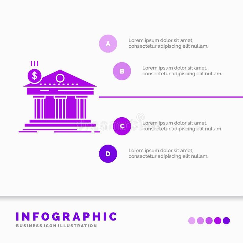Arquitetura, banco, opera??o banc?ria, constru??o, molde federal de Infographics para o Web site e apresenta??o ?cone roxo do GLy ilustração do vetor