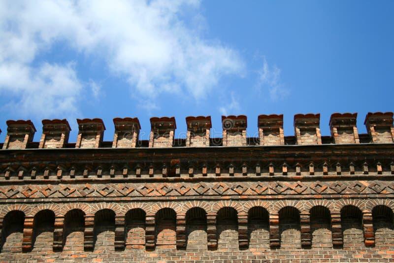 Arquitetura bonita da parede do castelo fotografia de stock