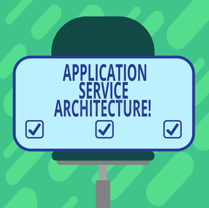Arquitetura conceptual do serviço da aplicação da exibição da escrita da mão Projeto apresentando da foto do negócio das soluções ilustração do vetor